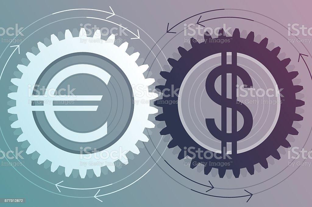 Interaction of euro and dollar vector art illustration