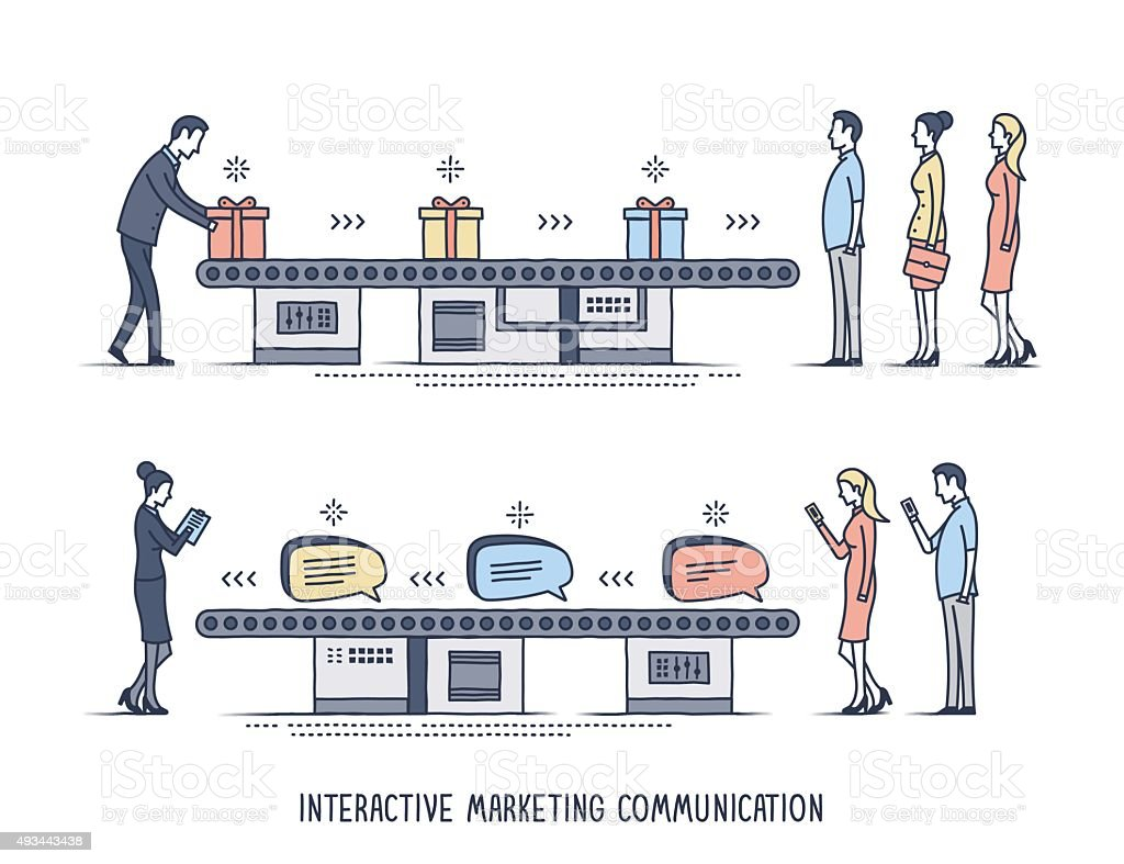 Interactive Marketing Communication vector art illustration