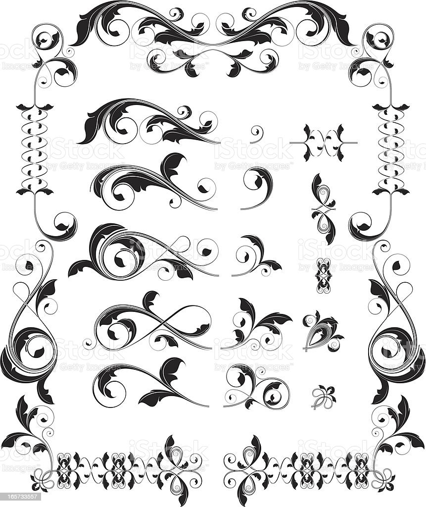 Interchangable Floral Scroll Set royalty-free stock vector art