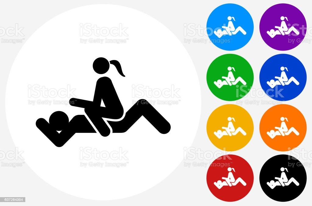Intercourse Icon on Flat Color Circle Buttons vector art illustration