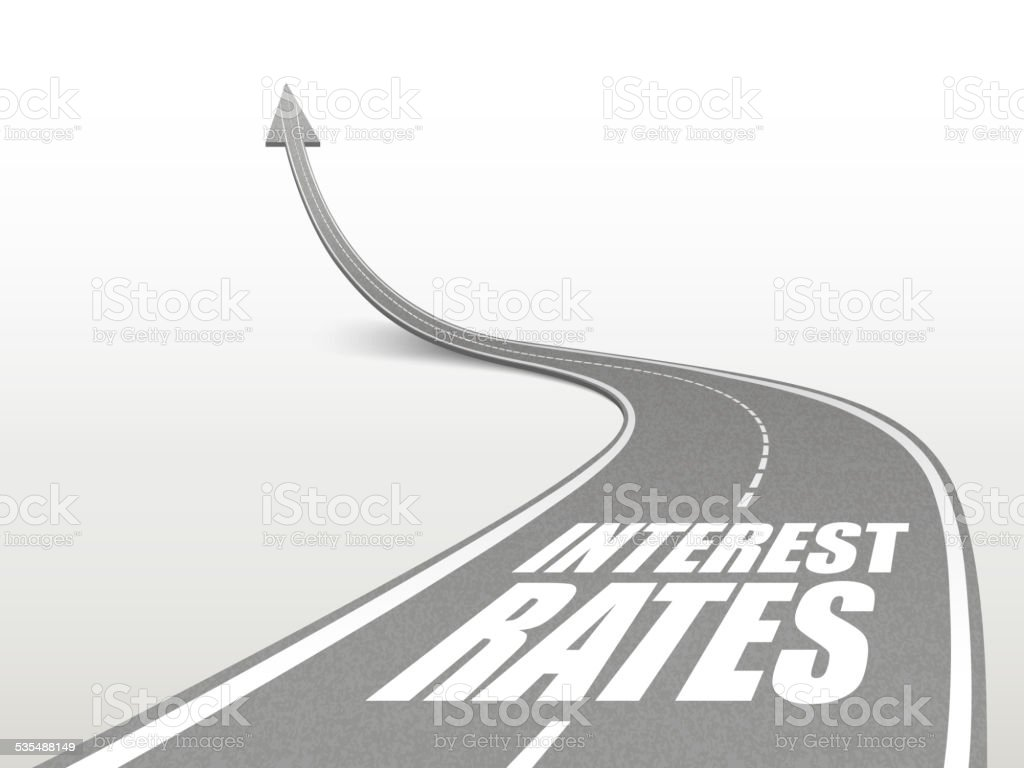 interest rates words on highway road vector art illustration