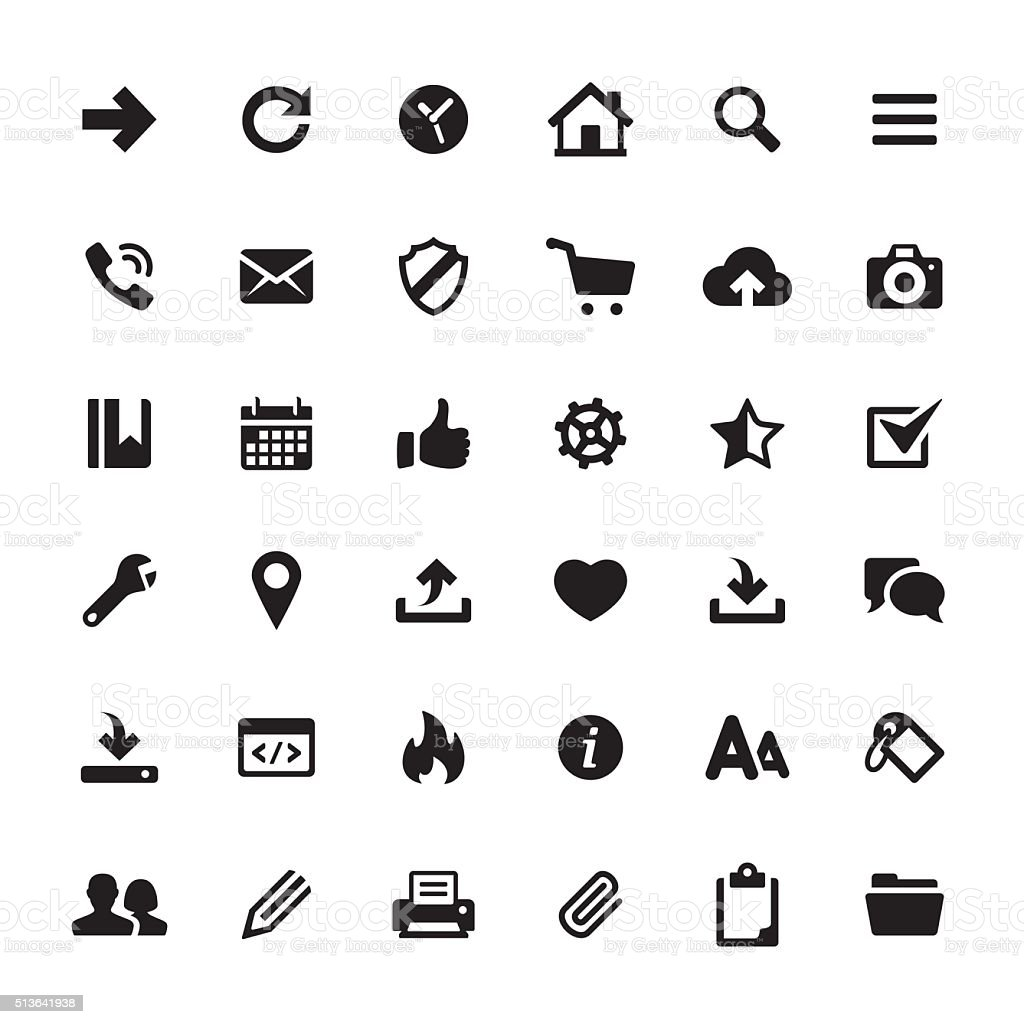 Interface and Media vector symbols and icons vector art illustration