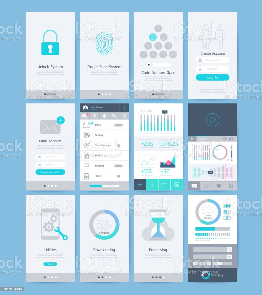 Interface and UI design elements. vector art illustration