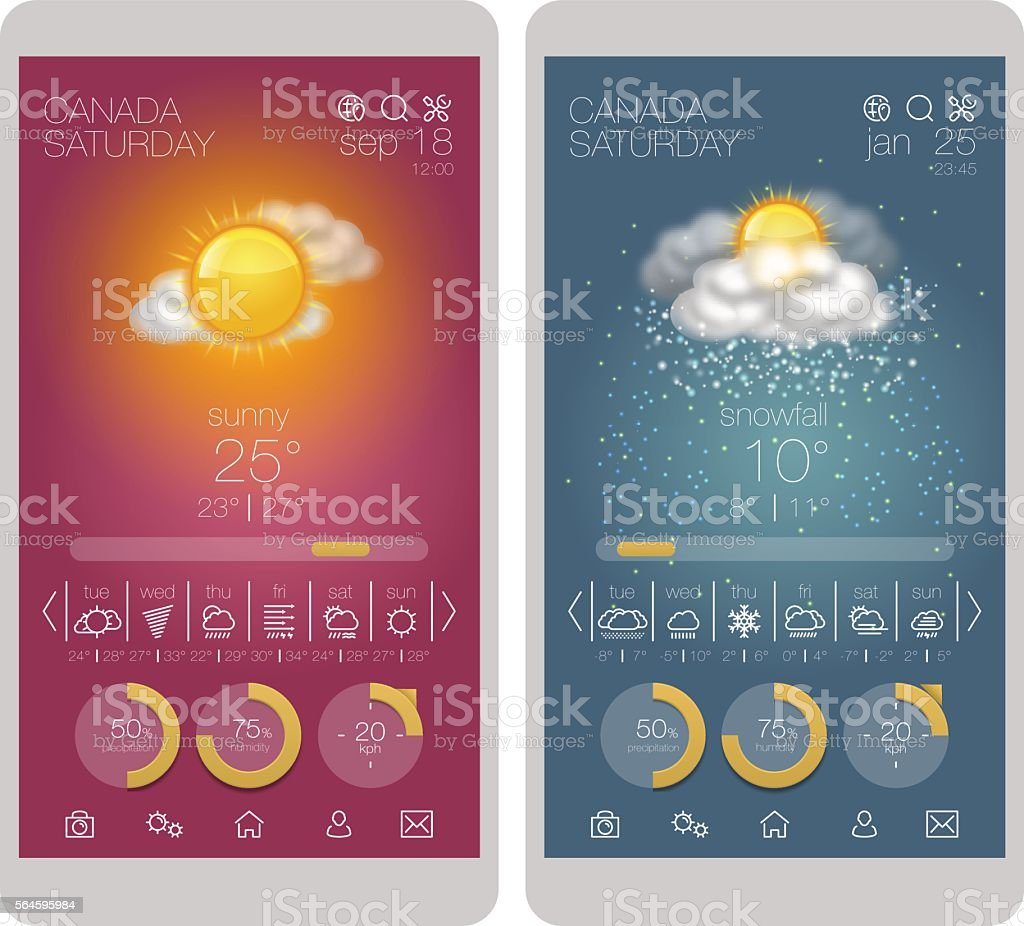 UI interface and weather icon set on smartphone vector art illustration