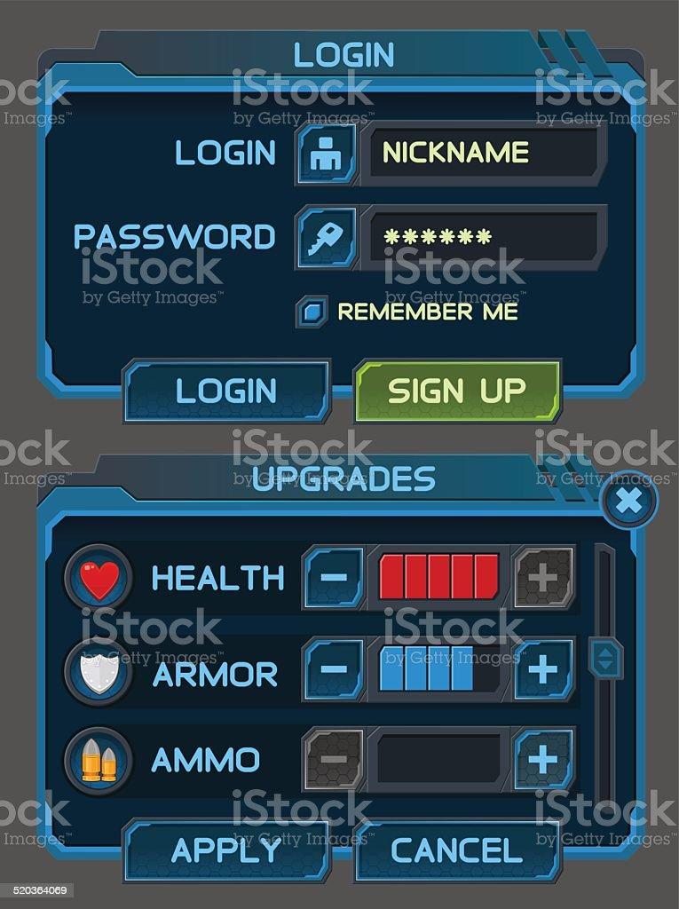 Интерфейс пуговицами для космической игры или приложения векторная иллюстрация