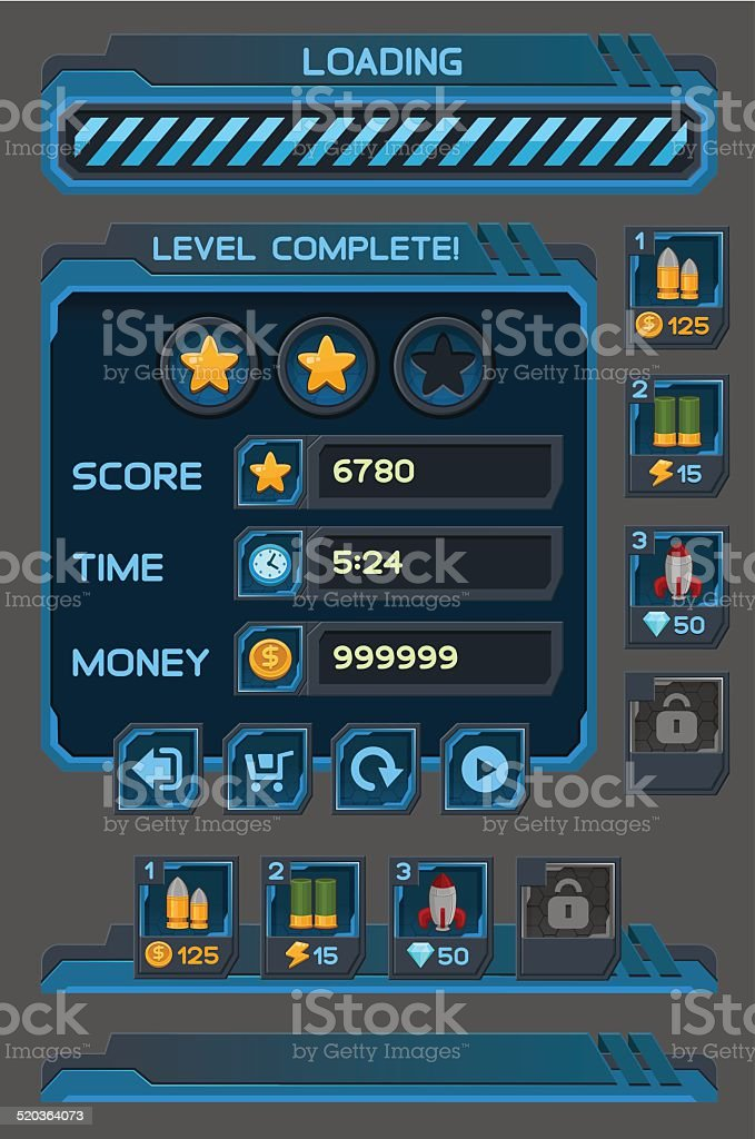 Interface buttons set for space games or apps vector art illustration