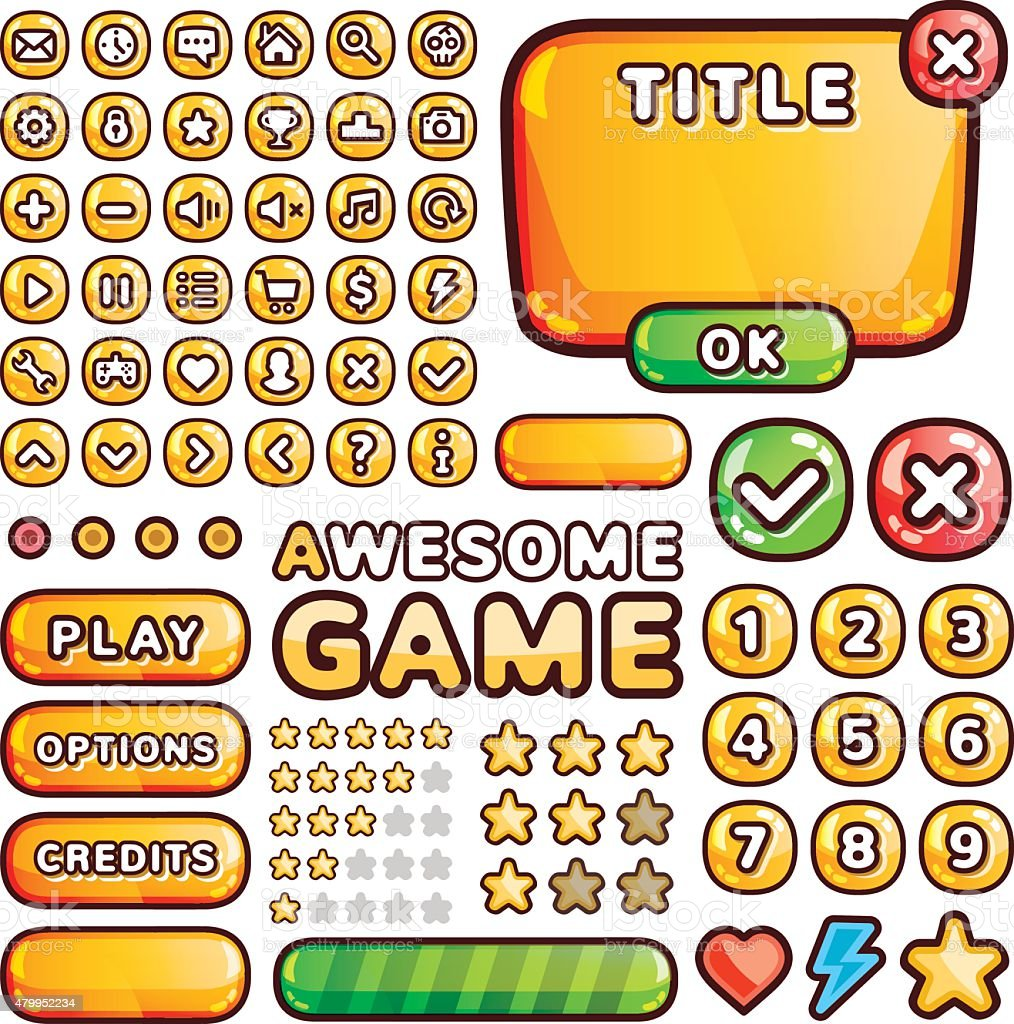 Interface elements for web and mobile games and apps vector art illustration