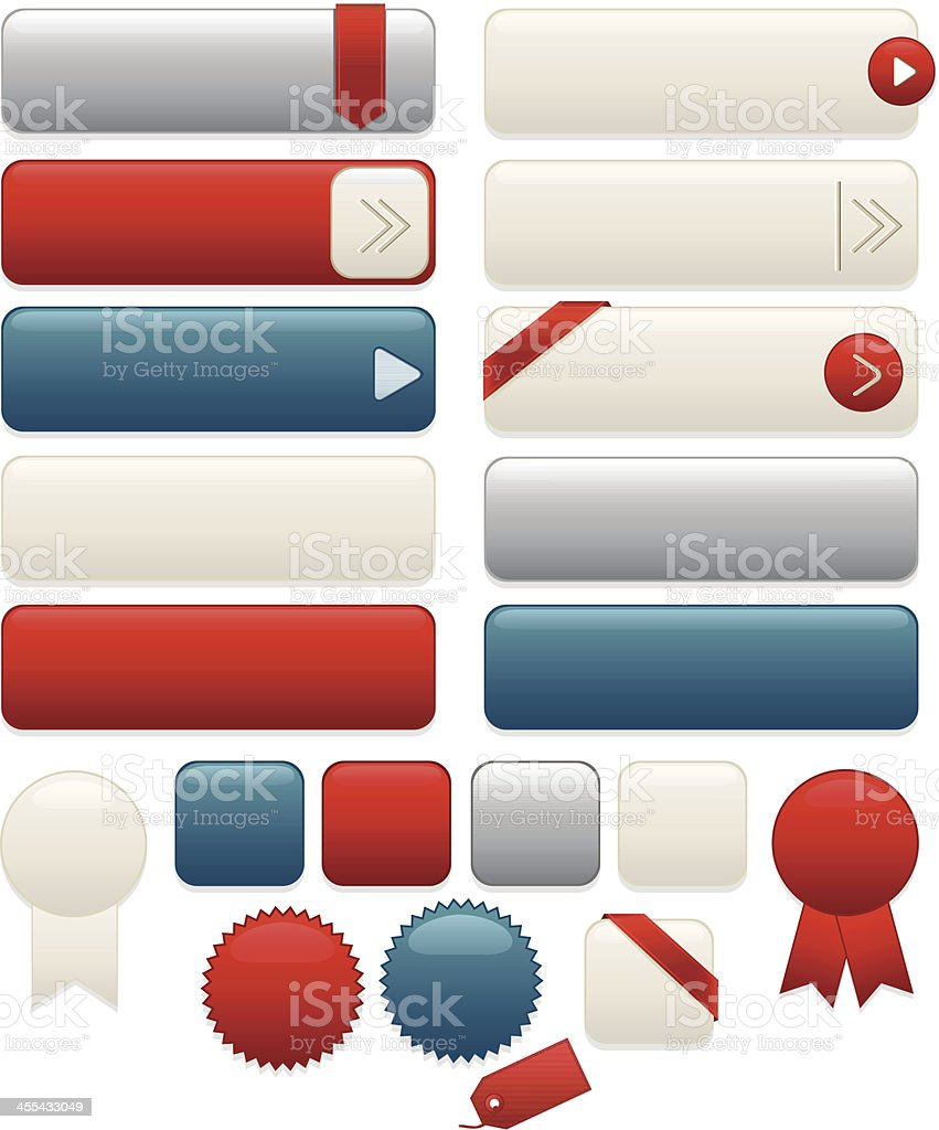 Interface Icons, Labels, Ribbons, Stickers Set: White, Blue, Red, Silver vector art illustration
