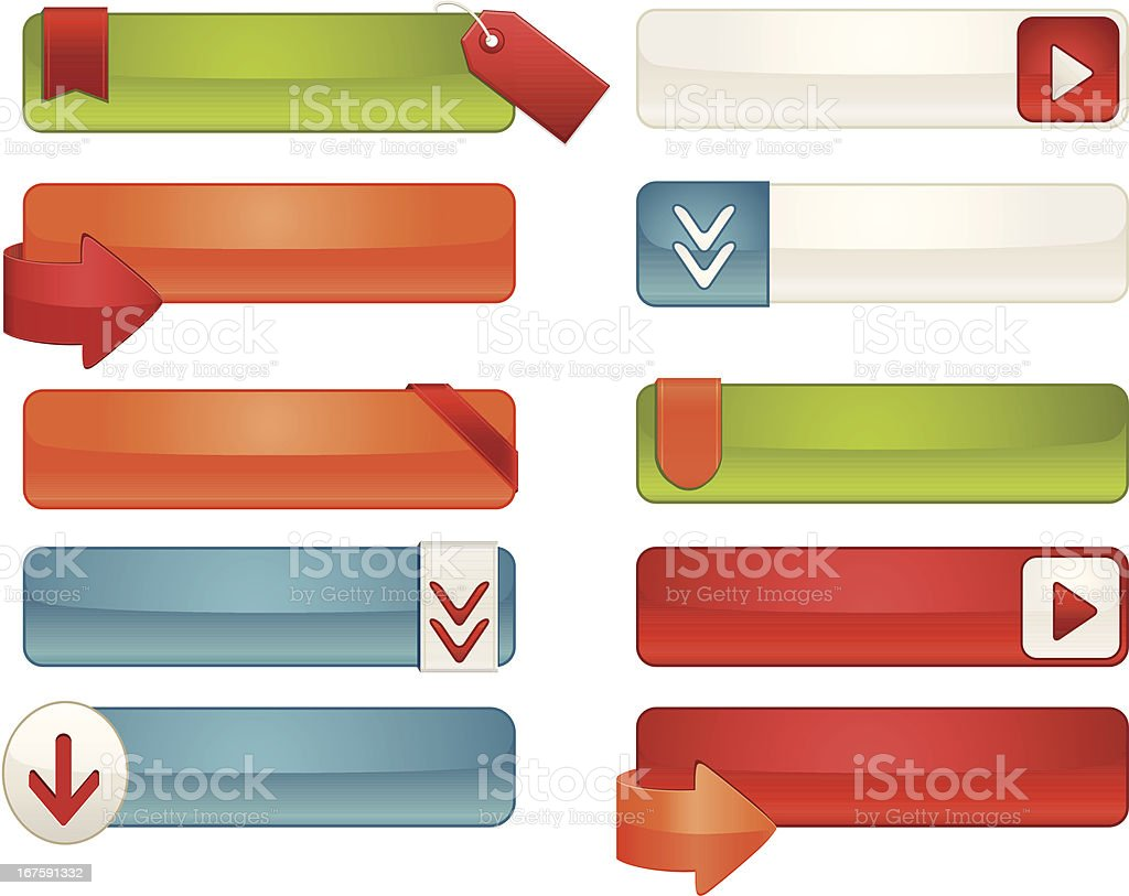 Interface Icons, Labels, Tags Set: White, Blue, Red, Orange, Green royalty-free stock vector art