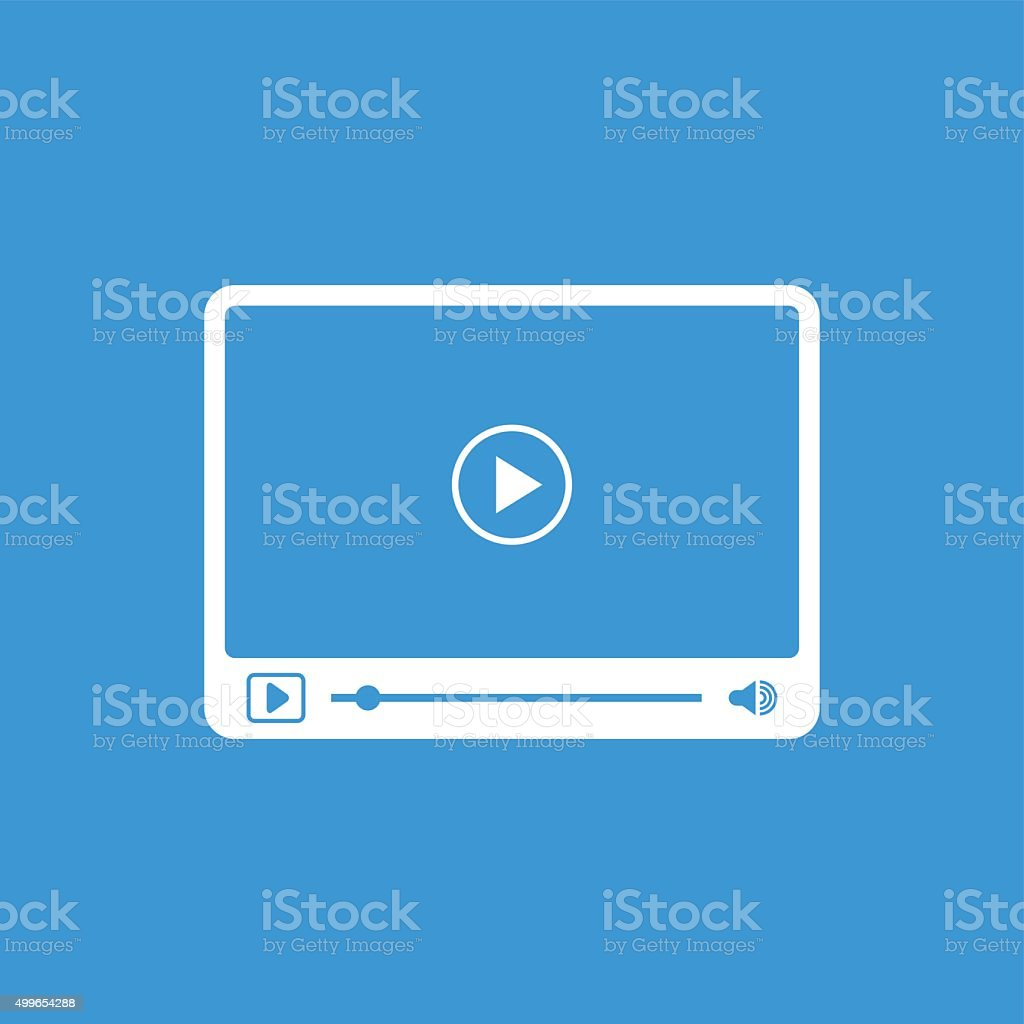 Interface of simple video player with icons vector art illustration