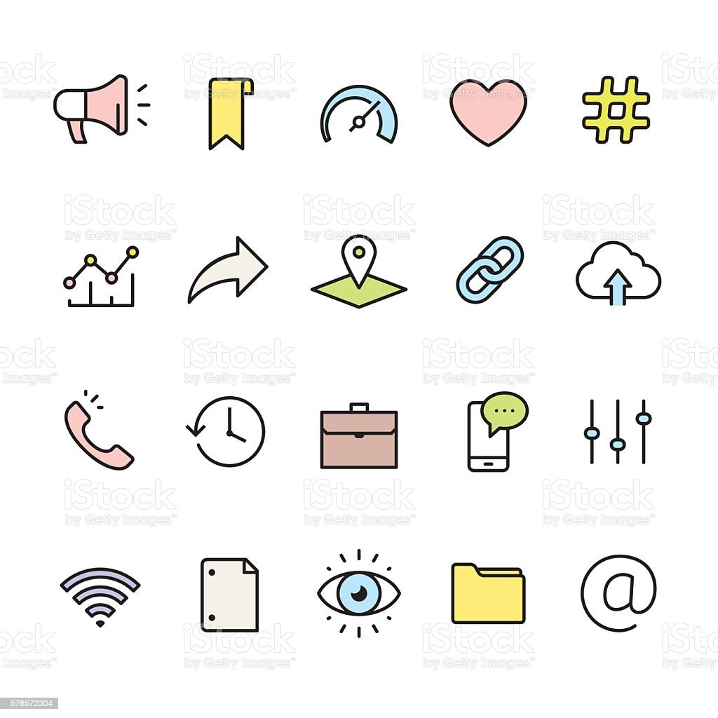 Interface pack - outline color vector icons vector art illustration