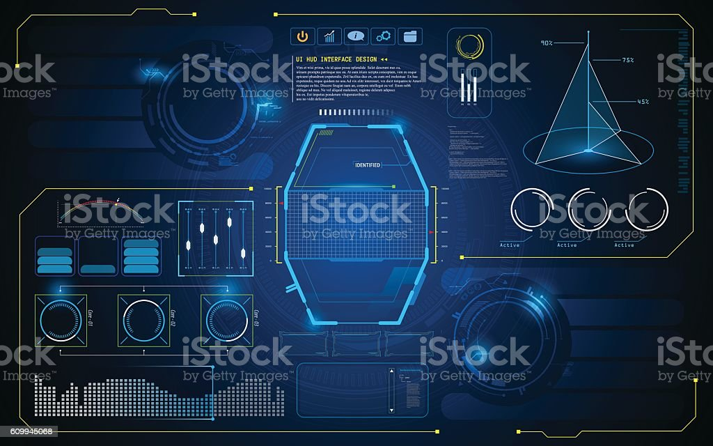 HUD interface UI future virtual artificial intelligence innovation design template vector art illustration
