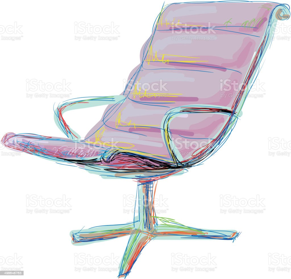 Interior concept. Office chair vector art illustration
