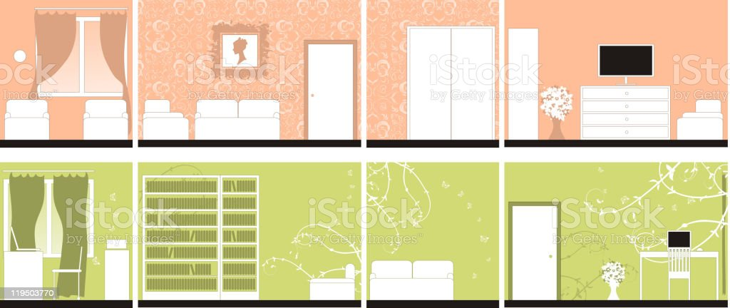 Interior design apartments royalty-free stock vector art
