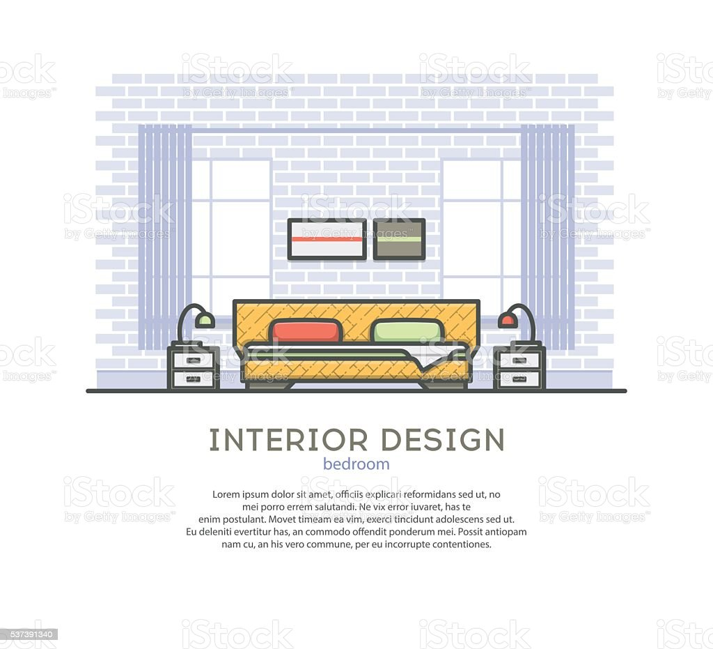 Bedroom Designs Outline interior design bedroom outline vector illustration stock vector
