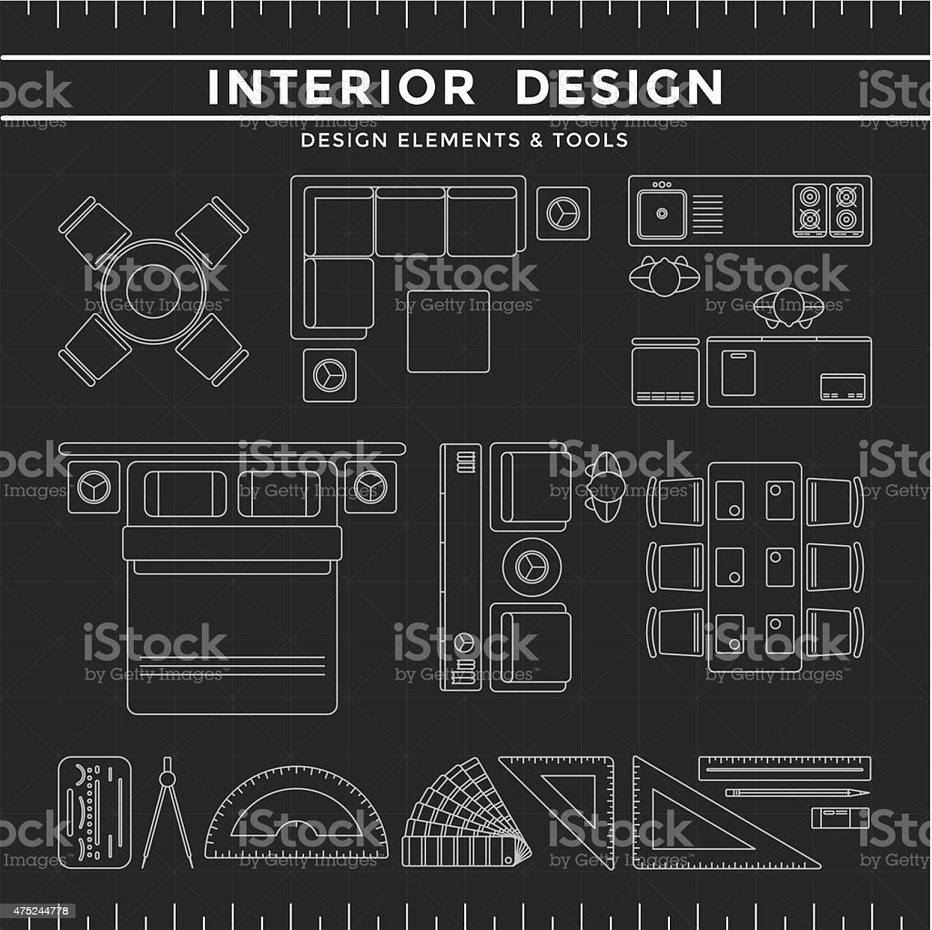 Interior Design Elements & Tools on Dark Background vector art illustration