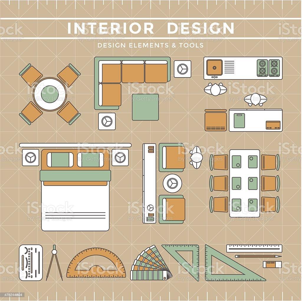 Interior Design Tools interior design elements tools stock vector art 475244804 | istock