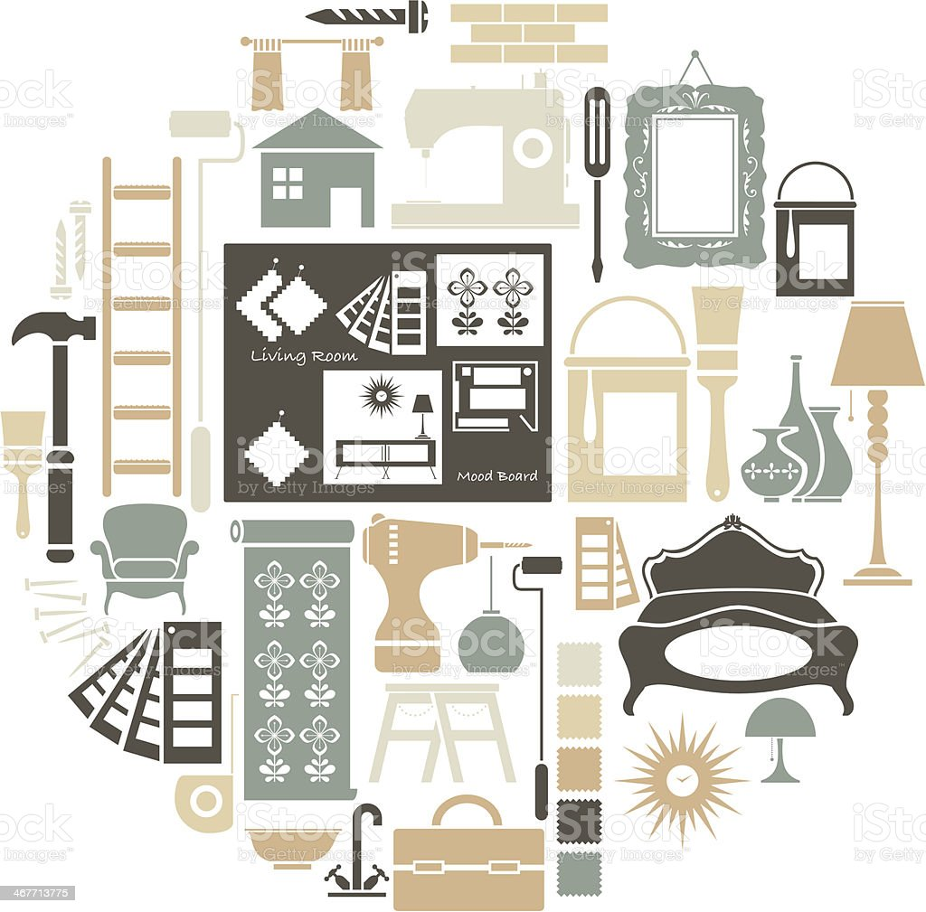 Interior Design Icon Set vector art illustration