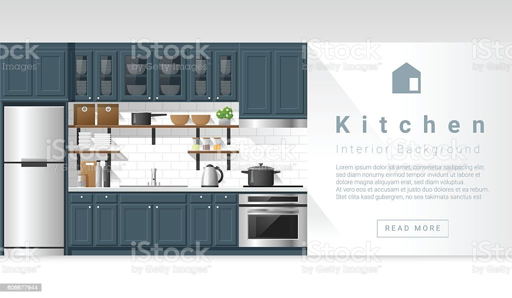 Interior design Modern kitchen background 4 vector art illustration