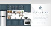 Interior design Modern kitchen background 4