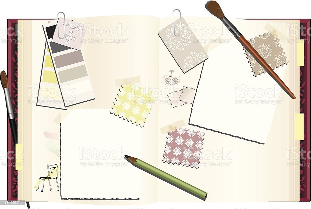 Interior Designer's Notebook royalty-free stock vector art