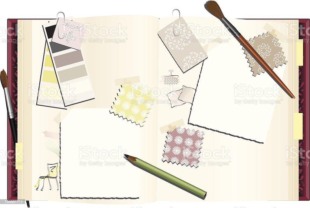 Interior Designer's Notebook vector art illustration