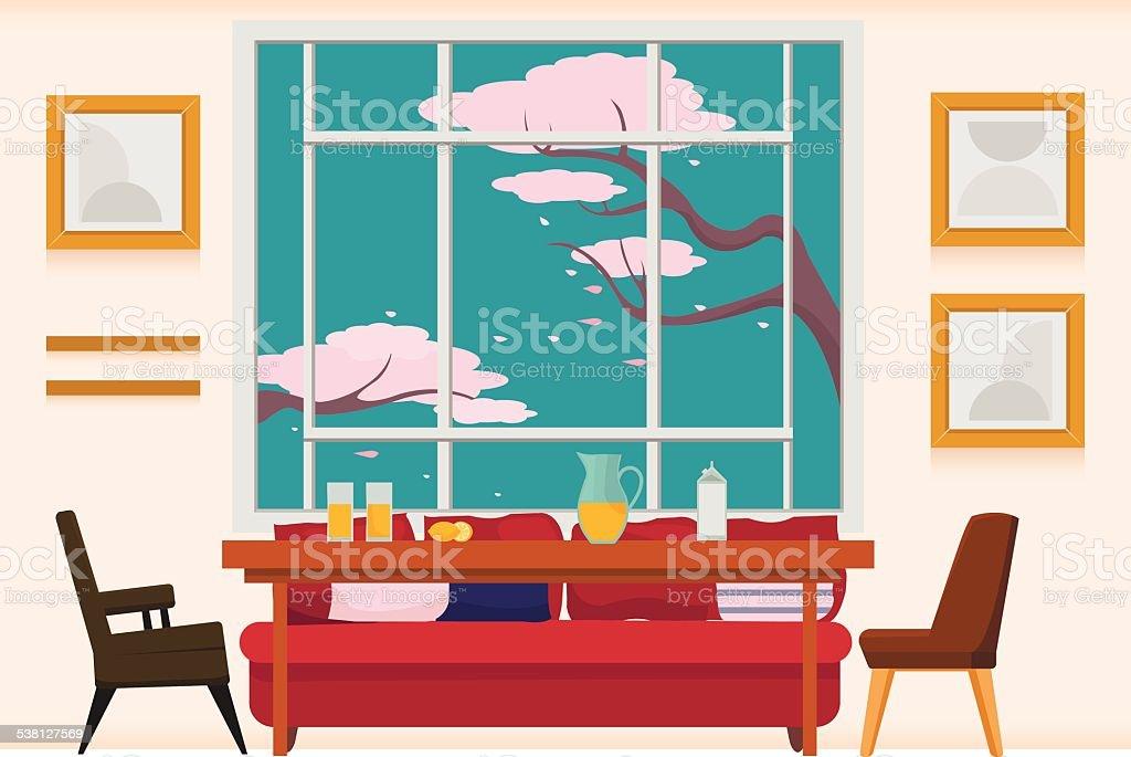 Interior dining room vector art illustration