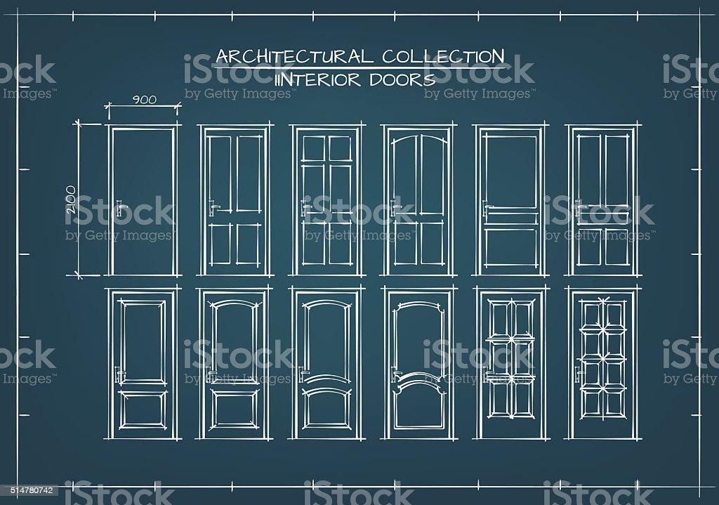 Interior Doors Set vector art illustration