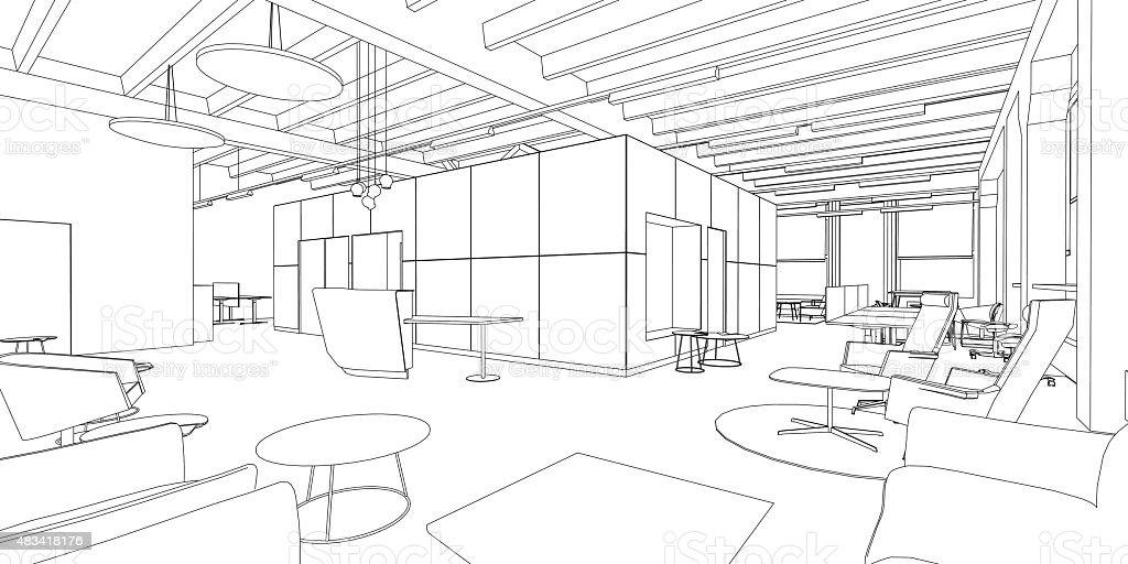 Interior Drawing Vector Art Illustration