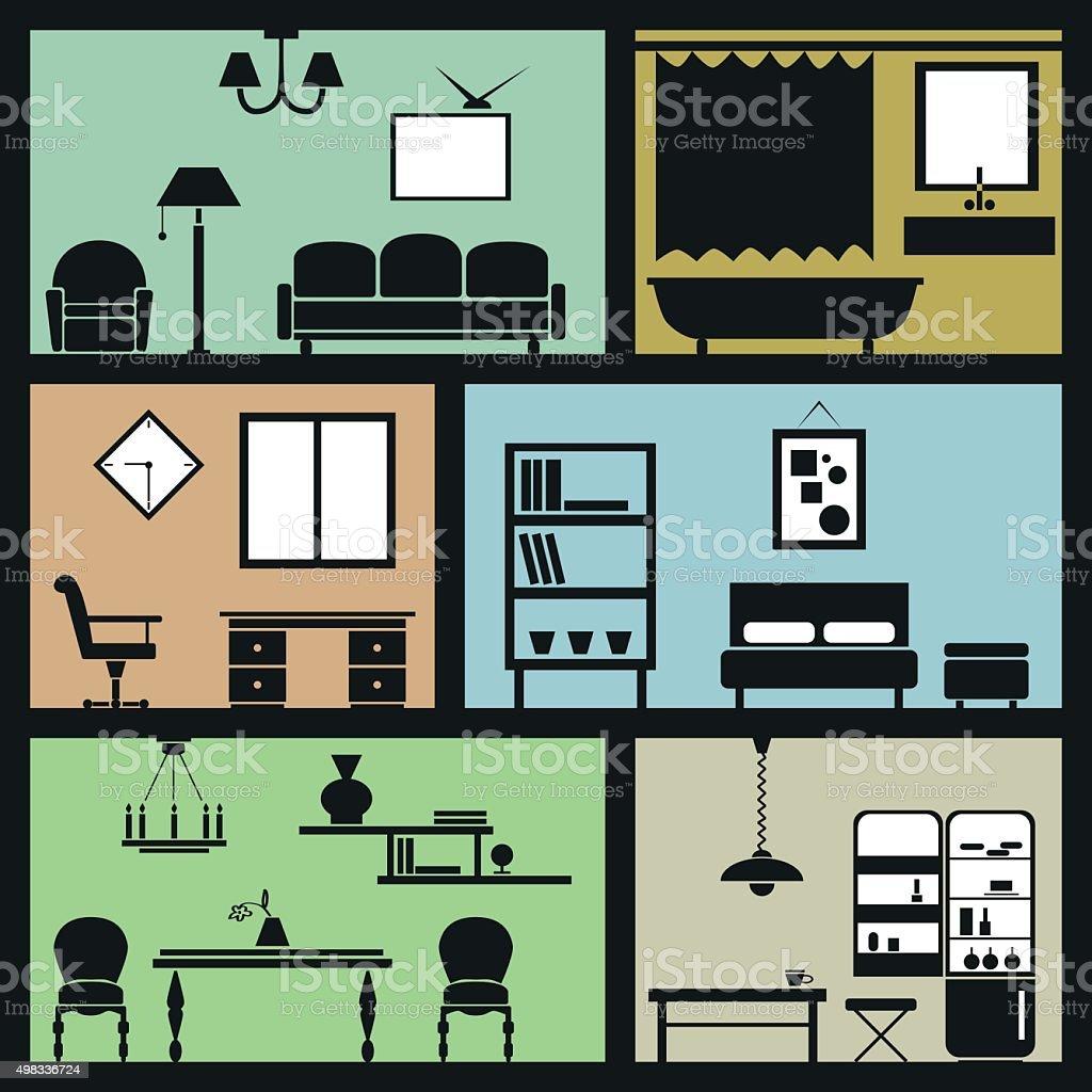 interior furniture icons vector art illustration
