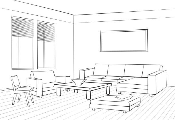 Illustration Interior Furniture Set Doodle Sketch Of Living Room Design Vector Art Graphical Drawing