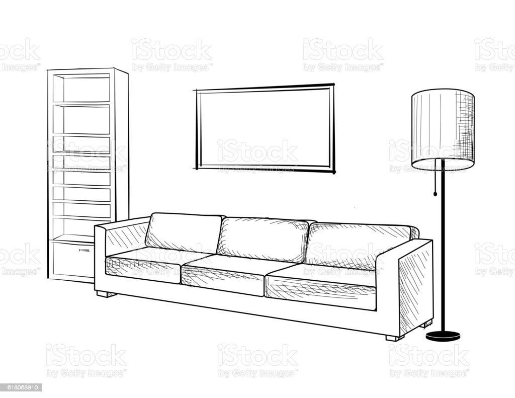 Interior design sketches living room interior design for Drawing room interior design photos