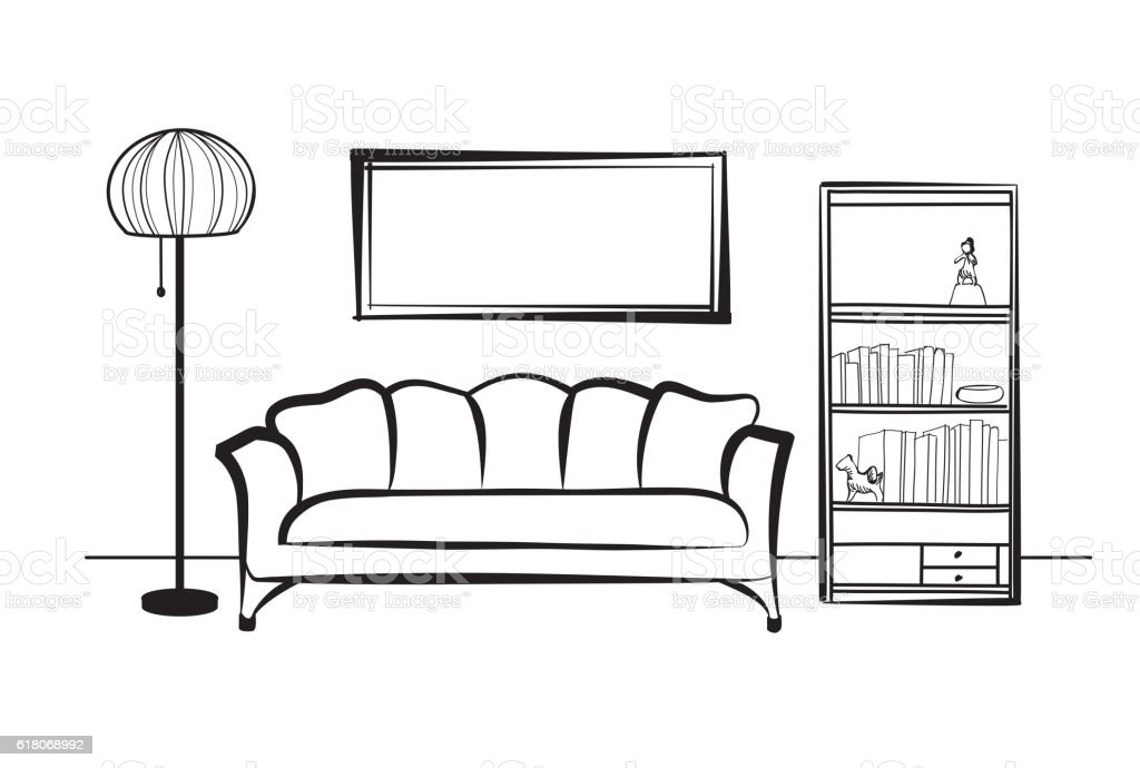 Doodle Sketch Of Living Room Design Royalty Free Stock Vector