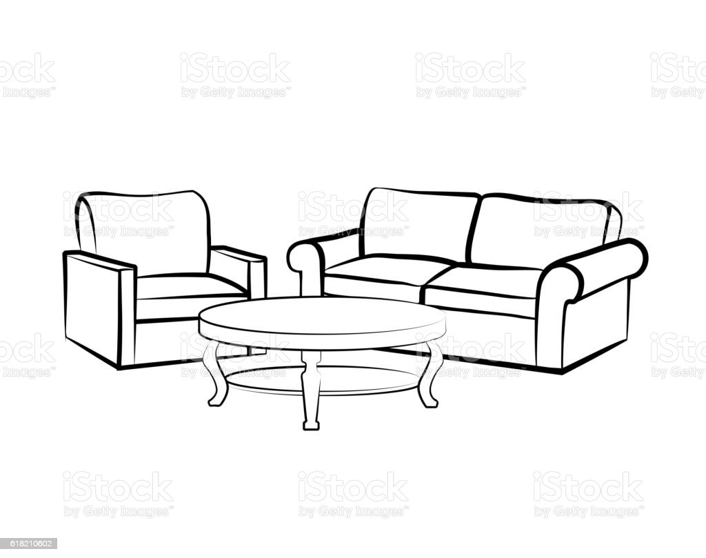 Interior Furniture Sketch With Sofa Armchair Table Living Room Design Royalty