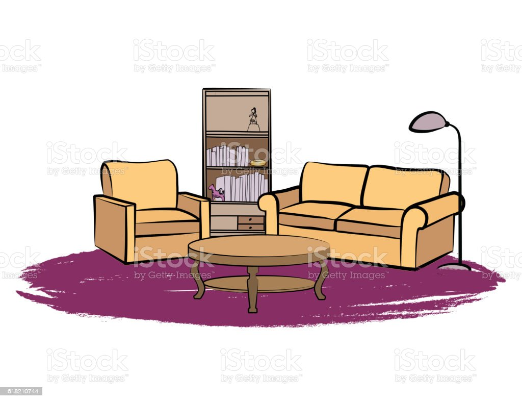 Interior Furniture Sofa Armchair Table Books Shelf Living Room Design