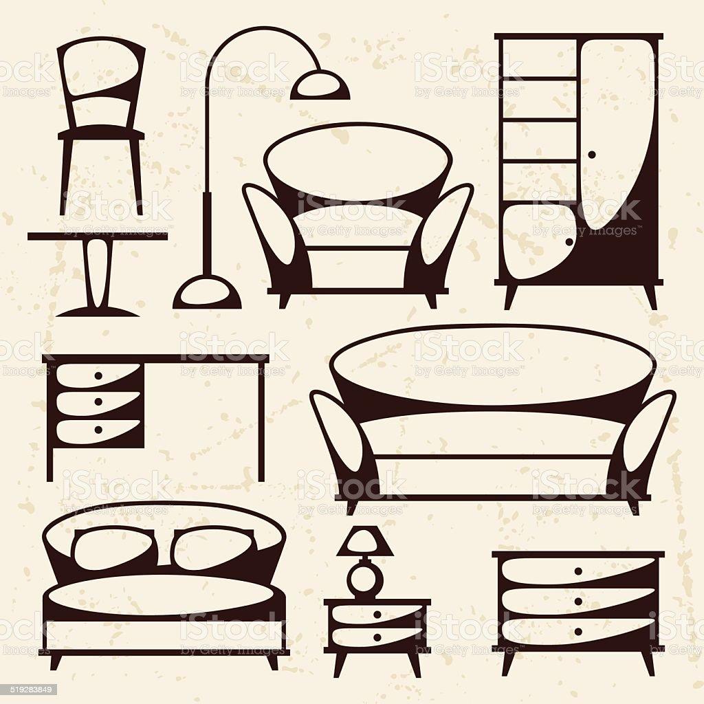 Interior icon set with furniture in retro style. vector art illustration