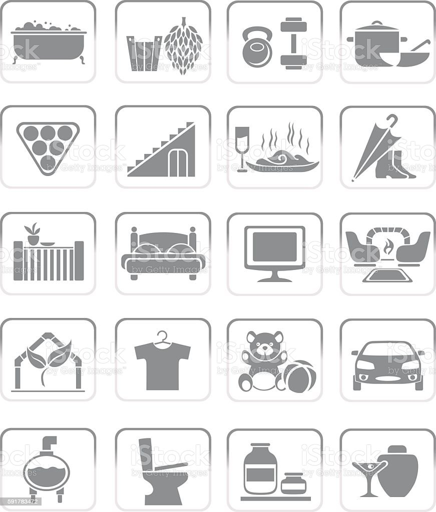 interior icons vector art illustration