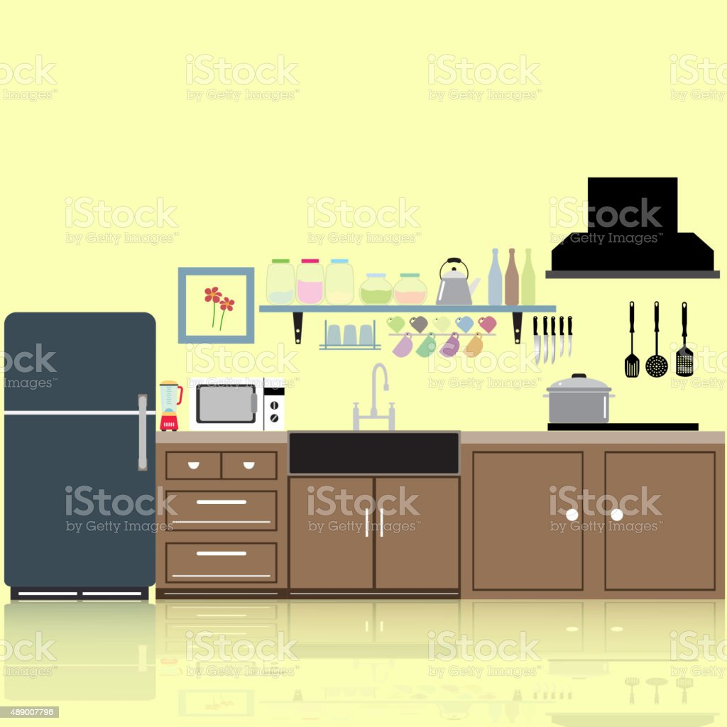 interior kitchen two dimensional color tones image Reflections vector art illustration