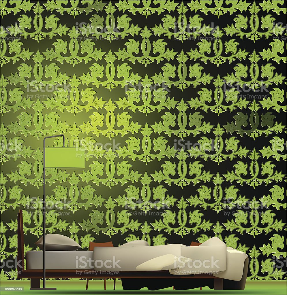 Interior of a room in green style. Vector royalty-free stock vector art