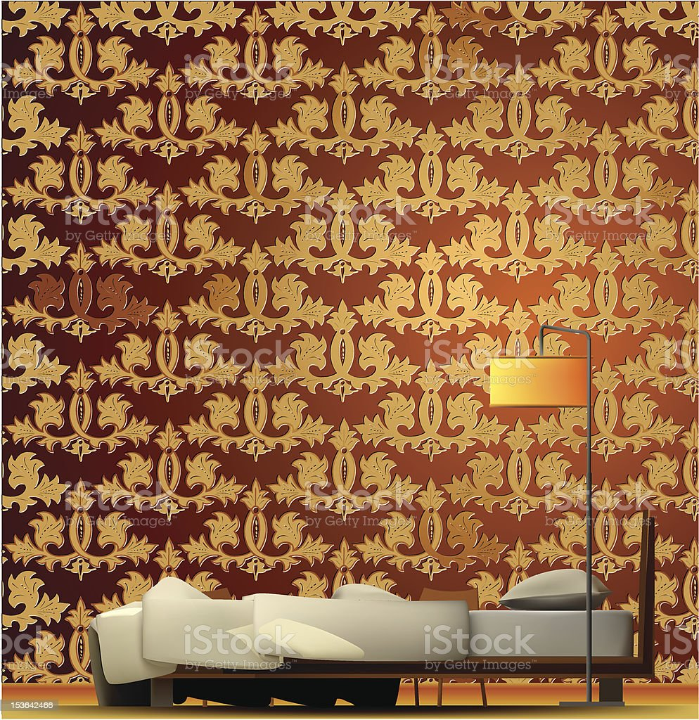 Interior of a room with bed and golden wallpaper. Vector royalty-free stock vector art