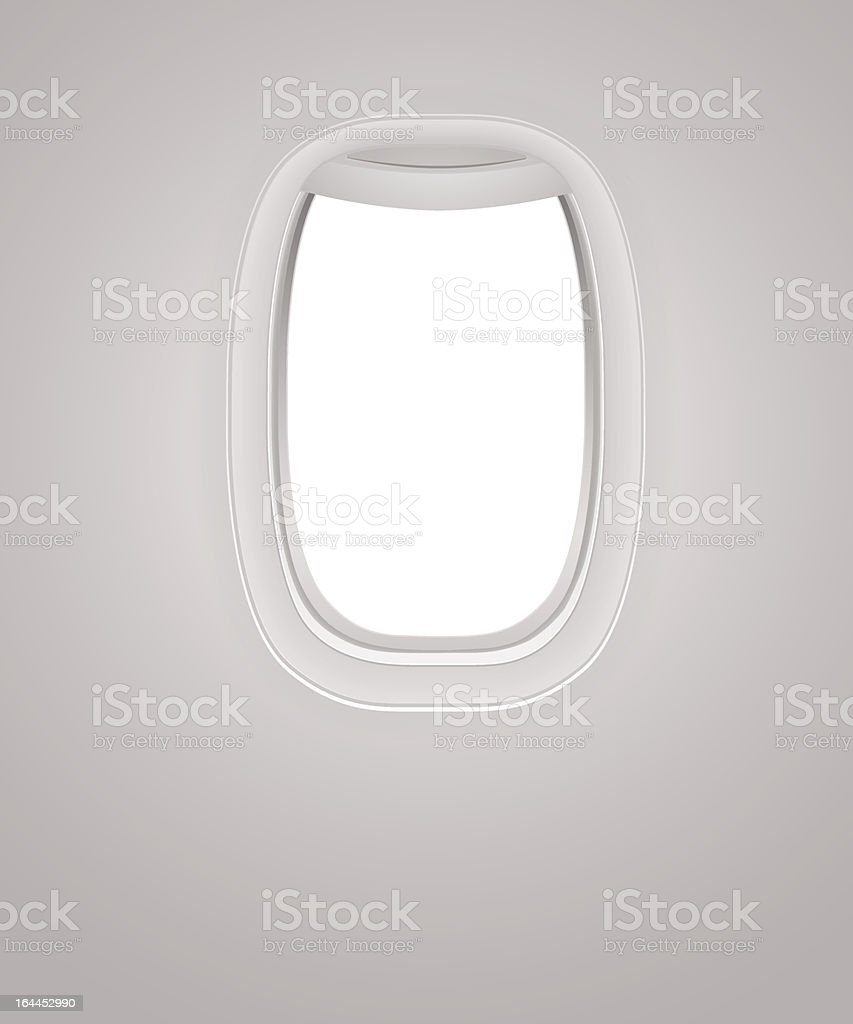 Interior of Aircraft. Plane window (porthole). Travel by Airplane. Vector vector art illustration