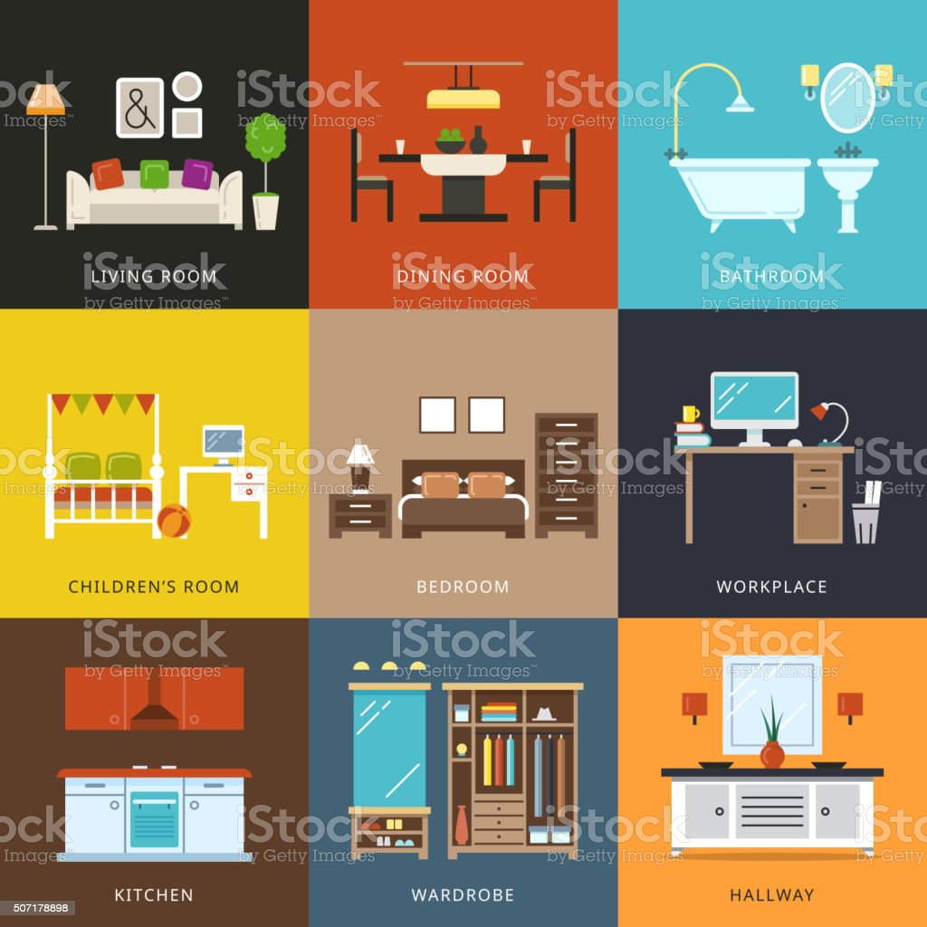 Interior of different rooms types. Vector illustration in flat style vector art illustration