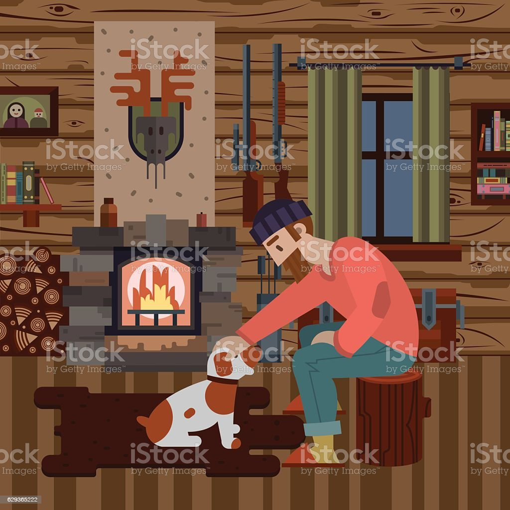 Interior of hunter wood house with different items vector art illustration