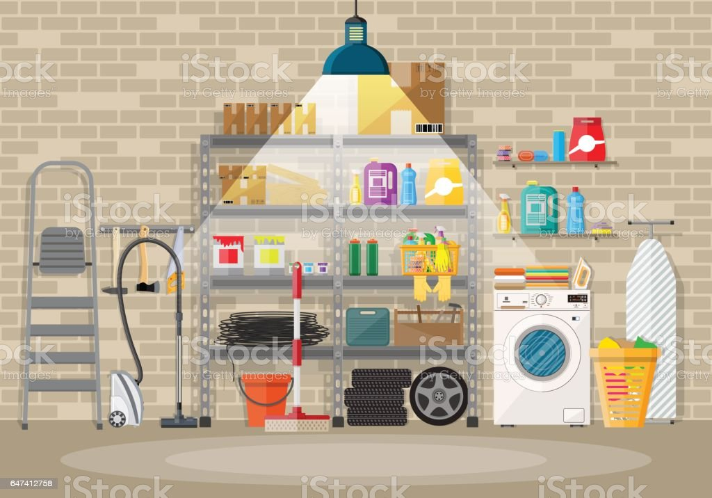 Interior of modern storeroom vector art illustration