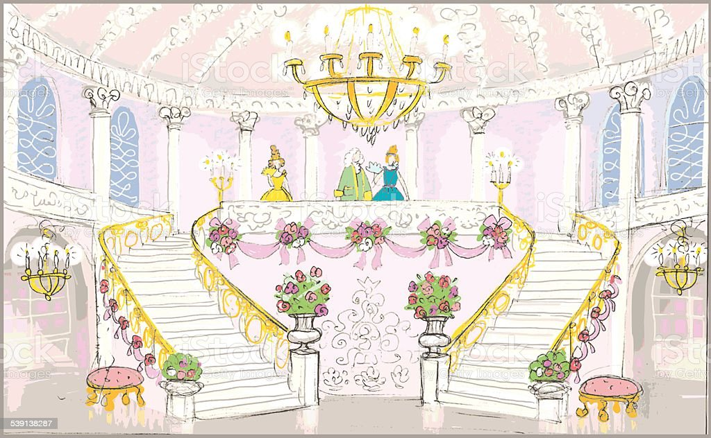 interior of palace vector art illustration