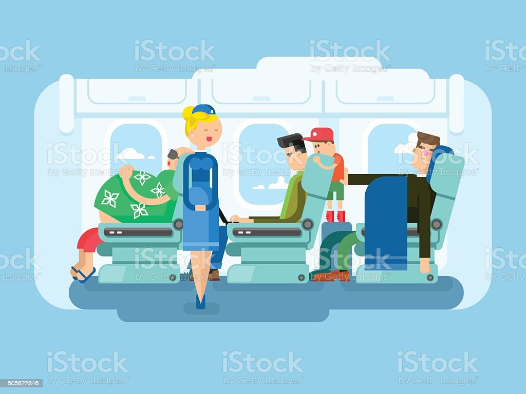 Interior of plane flat design vector art illustration