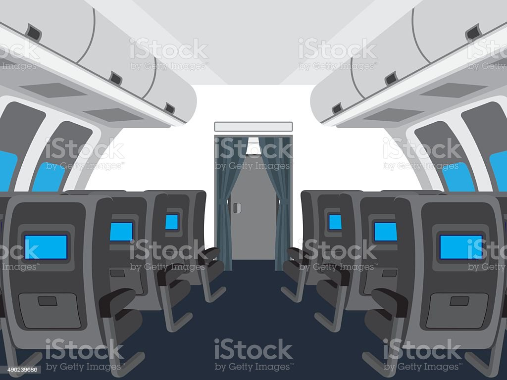 Interior of salon of the plane. vector art illustration