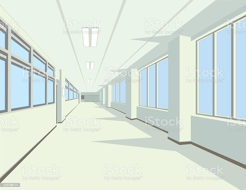 Interior of school or college hall. vector art illustration