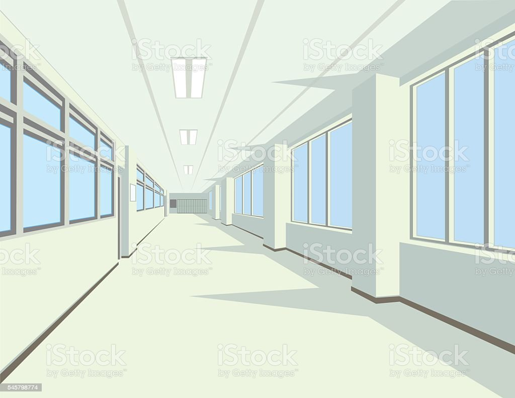 Interior of school or college hall. vector art illustration