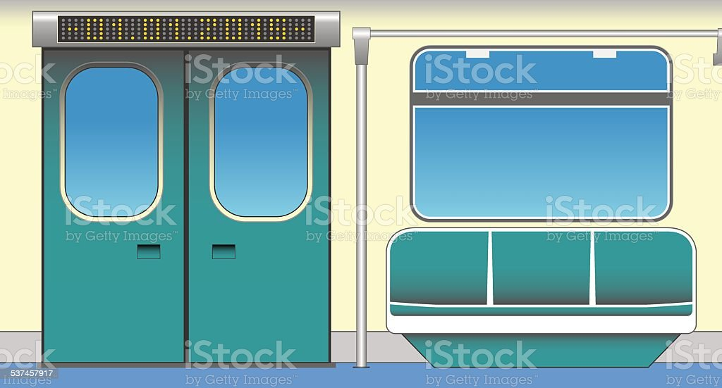 Interior of subway car vector art illustration